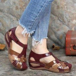 Hosamtel Ladies Summer Open Toe Ankle Strap Sandals Platform Wedge Shoes 2021 New Flat Heel Comfy Sandals