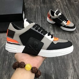 Sapatos da marca do crânio on-line-Luxury Designer Brand Philipp Men's Running Shoes Top Quality Fashion Leather Cowhide Skull Man Sports Casual Walking Shoe Sneakers Pp
