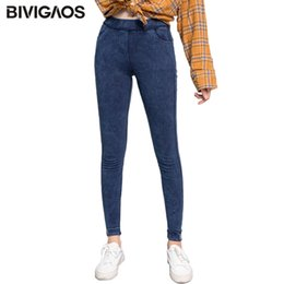 pantaloni indossati gambali Sconti Bivigaos Womens Autumn New Etichettatura Jeggings Skinny Slim Uso RIPPED Hole Hole Gescings per le donne Jeans Pantaloni a matita Pants Plus Size