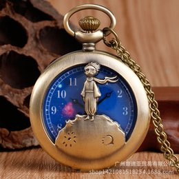 Pequeño reloj de bolsillo online-Nuevo Hollow Star Prince Fashion Large Pocket Watch Little Boy Quartz Watchsufj