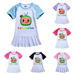2021 t-shirt di compleanno per i bambini Cocomelon Girls Long T-Shirt Dress Sleep Wear Summer Toddler Girls Dresses Fumetto Girl Vestiti Boutique Milk Skirt Silk Gonna Tee Compleanno Abito Bambini Costume G49N657