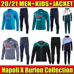 Kits de chandail en Ligne-2020/2021 Veste Napoli Soccer Tracksuit 20/21 SSC Naples Maradona Full Full Film Suit Ensemble Veste Costume Costume Sweats Hoodies Kits