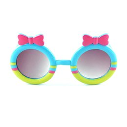 Bellissimi occhiali da sole di colore online-Bel Bambini Candy Bowtie Occhiali da sole Occhiali da sole rotondi con carino farfallino Fashion Girls Beautiful Colors Glasses