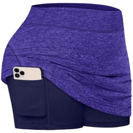 Laufende röcke online-New Damen Active Athletic Skirts Rock mit Pocket UV-Schutz für Laufen Tennis Golf Training Fitness Running Yoga Kurz 639 Z2