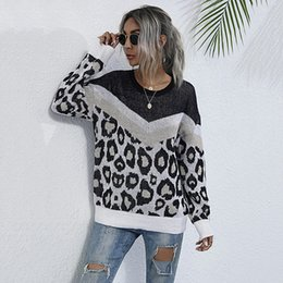 chunky strickpullover Rabatt Frauen Leopard Patchwork Pullover Casual Color Block Langarm Rundhals Slim Fit Pullover Frauen Lose Mode Chunky gestrickt Jumper Tops