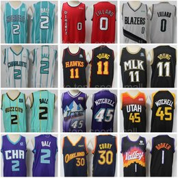 Stephen curry jerseys en Ligne-Basketball cousu 2 Jersey Lamelo Ball Stephen Curry Damian Lillard Lillard Trae Young Donovan Mitchell Devin Booker Ja Morant Buzz City Monnée Blue Green Blue Edition
