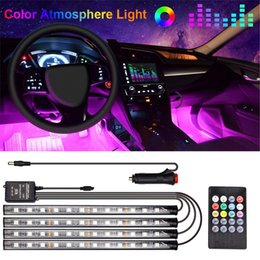 musica auto remota Sconti 48 Lampada a LED Piedino per auto Lampada ambientale con USB Wireless Remote Music Control Modes multipli Automotive Interior Lights Decorative