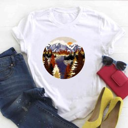 Fiume magliette online-Donne Painting River Travel Stampato Manica Corta Ladies Summer T Summer T T-Femmina Top Shirt Vestiti Tshirt Womens Graphic T-shirt