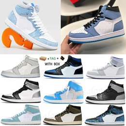 Esportes universais on-line-Air Jordan 1 Retro 1s aj1 jordan Rookie jordans men J Balvin x jumpman 2021 high OG University Blue Basketball shoes Colores Vibras dye Pine Hyper Royal women sneakers Silver