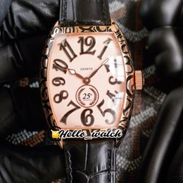 3d-marker online-42mm cintree Curvex Uhren 8880 25. Jubiläum Herrenuhr 3D Marker Full Rose Gold Retro Carve Cracks Case Schwarz Lederband HWFM Hello_Watch