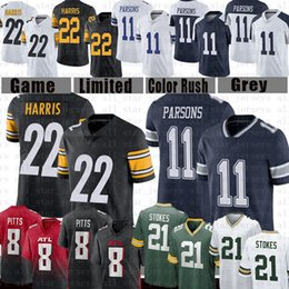Pullover falconi online-22 Najee Harris 8 Kyle Pitts 11 Micah Parsons 21 Eric Stokes Football Jersey Pittsburgh