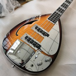 Solarizzazione foro f della chitarra elettrica online-4 corde Sunburst Drop Drop Vox Phantom Electric Bass Guitar Guitar Semi Hollow Body, Single F Hole, Bround Block Inlay, Bigs Bridge Cover