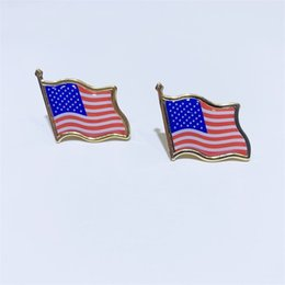 broche cravate Promotion 10pcs / lot Drapeau Américain Pin de revers États-Unis États-Unis Chapeau Cravate Tack Badge Badge Mini Broches Pour les sacs de vêtements Décoration 675 T2