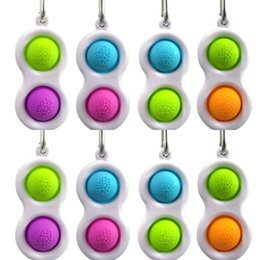 Anti sacchetti online-Push Pop Bubble Keychain Type Toy 10pcs sensory Fidget Simple Dimple Tasto Anello 2 Palle Borsa Pendenti Stress Sollier Anti Ansia HH3301