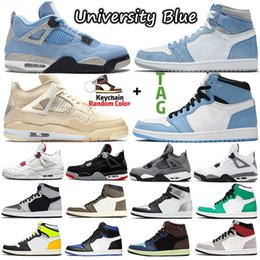 Мужские парусиновые туфли онлайн-Sail University Blue jumpman 1s 4s Men Basketball Shoes Hyper Royal Shadow 2.0 Dark Mocha Silver Toe Twist 1 women mens Sports sneakers