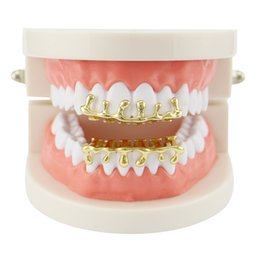 Le pistole delle rose online-Hip Hop Water Drop Grillz Real Gold Placcato Griglie Dental Griglie Dental Rapper Body Jewelry Four Colors Golden Silver Rose Gold Gun Black 664 T2
