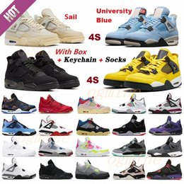 Chaussures de sport du campus en Ligne-air jordan jordans aj4 4s retro retros jumpman Men and Women 4 4S Basketball shoes University Blue Campus Royal Vintage Cement League sail Metal covered Fire Red goyave Ice shoes