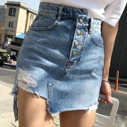 2021 gerippte jeansröcke Lässig unregelmäßiger High Taille Denim Rock Light Wash Frauen Ripping Minirock Weibliche Mini Saia Mujer 2019 Sommer1