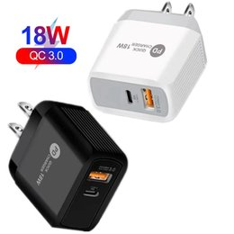 2021 carregador android uk Dupla portas USB QC3.0 CARGA RÁPIDA 18W Tipo C PD Carregador de Parede UE EUA Adaptador UK para iPhone Samsung HTC PC Phone Android