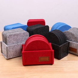 Coasters sentiam on-line-Felt Coaster With Box Cup Pads Table Mats Simple Thermal Coasters Home Decoration Solid Color Tablewear GWA5141