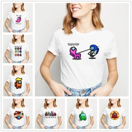 Ragazze divertenti t-shirt online-Women's T-Shirt Summer tops Crew Neck Short sleeve Casual Girls shirt Game Among Us printing Cartoon funny white plus size S M L XL 2XL 3XL 4XL