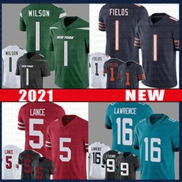 Jets neue trikots online-Trey Lance Zach Wilson Justin Fields Football Jersey 16 Trevor Lawrence Travis Etienne San Jacksonville