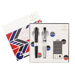 Schwarz im parker stift online-PENS Parker Ink Bag Double Set Im rationalen schwarzen Tinte + Im Introvertierte graue Tinte Geschenkbox