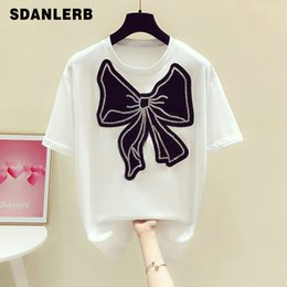 Модная белая майка онлайн-2021 Summer tee White T-shirt Fashionable Diamond Bow Decorative Round Neck Short Sleeve Pullover for Women Casual Loose Top