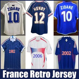 campeão dos campeões mundiais Desconto 1998 França Jerseys de futebol campeões do mundo campeões retrô Blanc Guivry Henry Zidane Jersey Djorkaeff Trezeeguet Deschamps Maillot de Foot Uniforms Top Thai