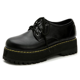 Pizzo nero su piattaforma creepers online-Roman Womens Mid Chunky Creepers Platform Platform Shoes Lace Up Sandali Casual Gothic Black Black Oxfords Retro Stili Britannici Plus Size Dress