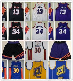 Curry blanc blanc stephen en Ligne-Rétro Baskeball 13 Steve 34 Charles Nash Barkley Jersey Shorts Vintage cousu 30 Stephen Golden Curry Jerseys Blue Jaune Blanc Blanc Blanc Violet Short