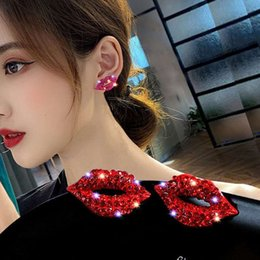 LADIES WOMENS RED CRYSTAL LIPSTICK LIPS KISSING FASHION STATEMENT EARRINGS UK