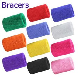 Wholesale Orange Sweatbands - 10 pcs Cotton Made Elastic Wrist Support Protective Safety Gym Bracers Sweatbands Sporting Outdoor Accessory Wholesale