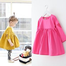 Wholesale Dolls Tutus - Spring new 2016 girls doll dress korean cute style candy color kids dress cotton long sleeve pure color children clothing 2-7age