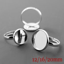 Wholesale Dome Base - 100XWholesale Silver Plated Ring Setting Base Jewelry Findings with Inner 12 16 20mm Tray for Glass Cabochons Domes