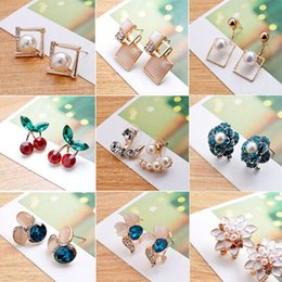 Wholesale Cheap Cat Jewelry - 2015 New Arrival Korean fashion jewelry earring wholesale Crystal Earring Pearl Earring Cat Eye Earring Jewelry For Women Cheap Earring