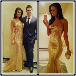 Wholesale Sweetheart Sequined Bodice - Sparkly Fully Sequins Sweetheart Bodice Corset Gold Dresses Long Mermaid Prom Dresses 2016 Formal Evening Gowns