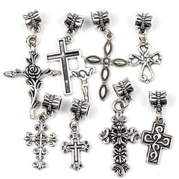 Wholesale Metal Rose Charms - 100pcs lot 6Styles Antique Silver Assorted Cute Rose Cross Charms Dangle Big Hole Beads Fit European Bracelets Jewelry DIY