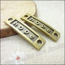 Wholesale Hope Bracelet Connectors - Vintage Charms Connector Hope alloy Pendant Antique bronze Metal Fits Bracelets Necklace DIY Jewelry accessories Findings 60pcs lot 35*10mm