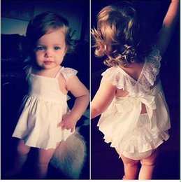 Wholesale Summer Cotton Lace Dresses - 2016 Vestidos Baby Girls Dresses Princess Children Dress Easter Lace Pattern Kids Girl Dress Brand Girls Clothes Costumes Free Shipping M034