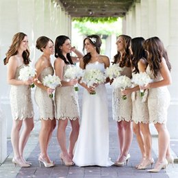 Wholesale Modest Champagne Bridesmaid Dresses - 2015 Champagne Modest Lace Sheath Bridesmaid Dresses Strapless Backless Knee Length Sleeveless Custom Made Plus Size Wedding Party Wear