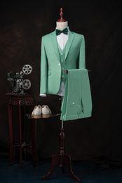 Wholesale High Quality Tuxedos - High Quality Groom Tuxedos Notch Lapel Groomsmen Back Vent Best Man Suit Bridegroom Wedding Prom Dinner Suits (Jacket+Pants+Vest) K511