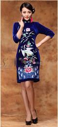 Wholesale Cheongsam Vestido - 2015 top grade Qipao ambroidered Chinese cheongsam dress royal costumes velvet wedding qipao vestido curtos Qipao women's dress