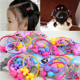 Wholesale Baby Hair Rubber Ponytail - Children Hair Rubber Hairbands Multi color & animals beads Elastic Ponytail Holder hairwear Hair Accessories for young girls & babies