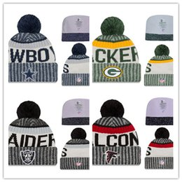 Wholesale Beanie Team Hats - 2017 Cotton All Team Football Pom Pom Beanies Men Women Winter Hats With Pom Cheap Sports Skull Caps Hot Sale free shipping