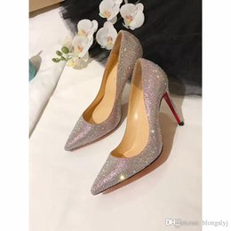 Wholesale Red Closed Toe Heels - 2017 Luxury Brand High Top Multicolored Glitter Red Bottom Heels,Top Qulity Christian Genuine Leather Dress Shoes Red Bottoms