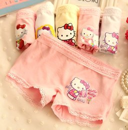 Wholesale Girls Lace Boxer Shorts - Fashion Summer Clothing Cartoon Hello Kitty Baby Cute Kids Underwear Children's Boxers Girls Lace Pattern Shorts Pants Cotton Panty 1T-9T