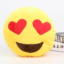 Wholesale Christmas Stockings Wholesale Prices - Factory Price 500pcs 30cm Cute Emoji Smiley Emoticon Yellow Round Soft Cushion Pillow Stuffed Plush Toy Christmas toy Stock ready