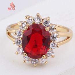 Wholesale Princess Kate Tiara - Kuniu Brand 18K Coated Red Sapphire Engagement Ring British Princess Kate Luxury Jewelry Micro Inlay Women Zircon Rings Hot
