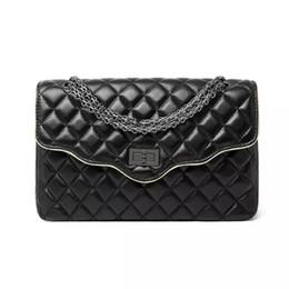 Wholesale Cross Body Black Ruffle Bag - Fashion Ruffles Shape Flap Pocket cover bag criss-cross diamond lattice genuine leather women casual bags shoulder crossbody